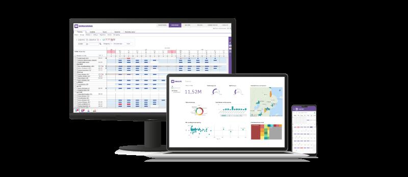 Millnet Bemanning - Planeringsvyn, uppföljning och tidrapportering